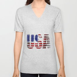 Distressed USA Flag Unisex V-Neck