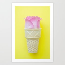 A Pink Rose in an ice cream cone on yellow background Art Print
