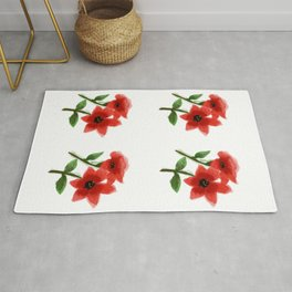 Red Roses Painting Artwork Rug