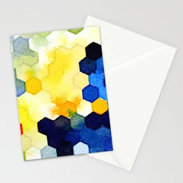 Yellow and Blue Honeycombs Stationery Cards