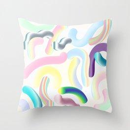 Pastel Rainbow Worms 1. Throw Pillow