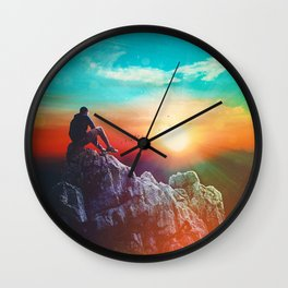 Contemplating The Sunset Wall Clock