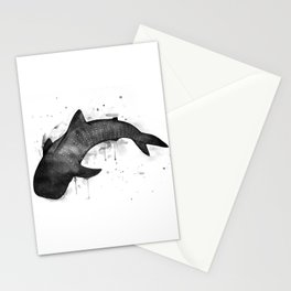 Whale shark, black and white Stationery Cards