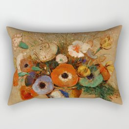 """Odilon Redon """"Wildflowers in a Long Necked Vase"""" Rectangular Pillow"""