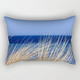 Dried long grass with blue sea behind and blue sky Rectangular Pillow