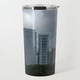 Chicago Skyline, Cloudy Day in Chicago Travel Mug