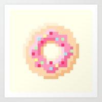 Pixel Donut Art Print