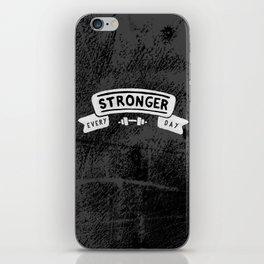 Stronger Every Day (dumbbell, black & white) iPhone Skin