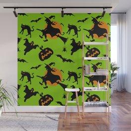 Neon green black orange halloween pumpkins cat witches pattern Wall Mural