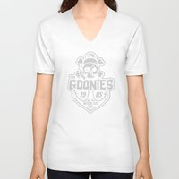 the goonies V-neck T-shirts featuring The Goonies grey by Buby87