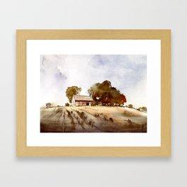 Lonely house on a hillfarm Framed Art Print