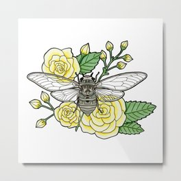 Cicada with Roses Metal Print