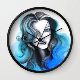 Aqua and Dark Blue Flame Hair Wall Clock