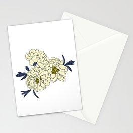 Botanical floral illustration line drawing - Peony Stationery Cards