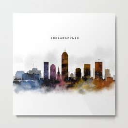Indianapolis Watercolor Skyline Metal Print