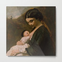 """Jean-Baptiste-Camille Corot """"Mother and Child"""" Metal Print"""
