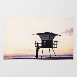 Vintage Lifeguard Tower Silhouette at Sunset, Sunset Beach, California Rug