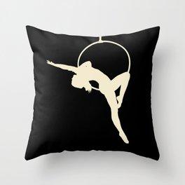 Lyra Aerialist Beige and Black Throw Pillow