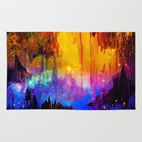 lindsay lohan Area & Throw Rugs featuring CASTLES IN THE MIST Magical Abstract Acrylic Painting Mixed Media Fantasy Cosmic Colorful Galaxy  by EbiEmporium
