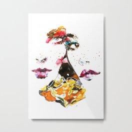 Fashion girls with yellow flower Metal Print