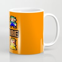 mario bros Mugs featuring Super Mario Bros Before Hoes by Marvin Porcher