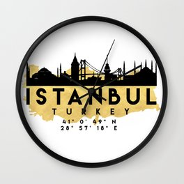 ISTANBUL TURKEY SILHOUETTE SKYLINE MAP ART Wall Clock
