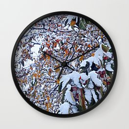 Snow on Fall Leaves 2 Wall Clock