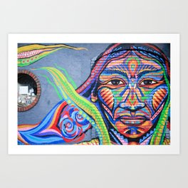 Native American Woman Street Art Art Print