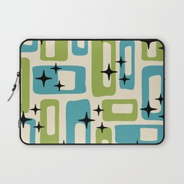 Retro Mid Century Modern Abstract Pattern 225 Blue and Green Laptop Sleeve