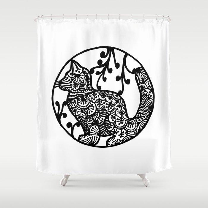 Boho Cat Illustration Black And White Paisley Shower Curtain