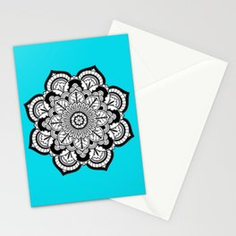 Black and White Flower in Blue Stationery Cards