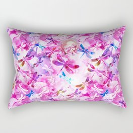 Dragonfly Lullaby in Pink and Blue Rectangular Pillow