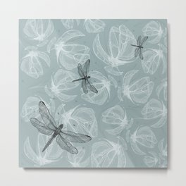 Floral Blue background pattern with Dragonflies - by Greta Darets Metal Print