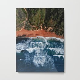 Riviera Beach in Golden Bay Malta | Ocean Waves Metal Print