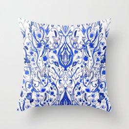 Indigo Folk paradise Throw Pillow