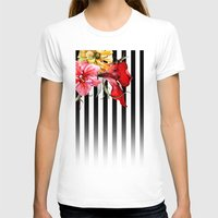flora T-shirts featuring FLORA BOTANICA | stripes by Cheryl Daniels