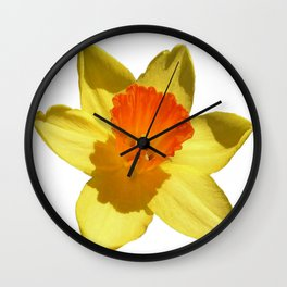 Daffodil Emblem Isolated On White Wall Clock
