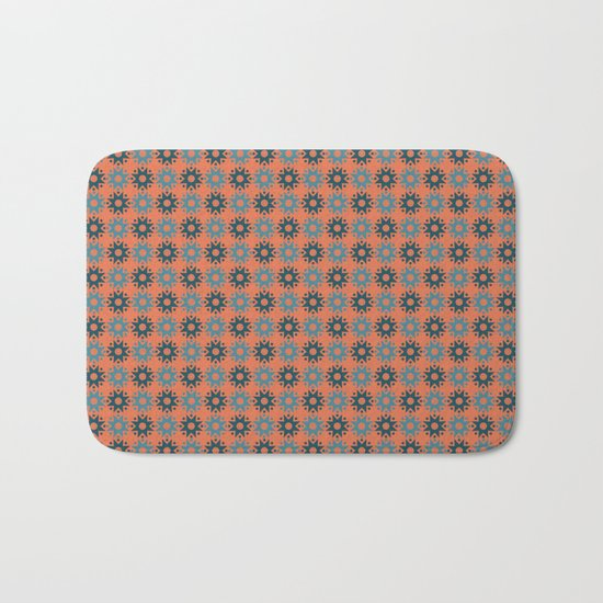 Pattern orange blue Bath Mat