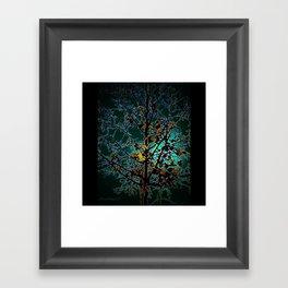 Autumn Tree on Turquoise Background Framed Art Print