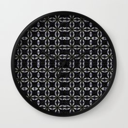 Black with White Stitching Tiled Pattern Wall Clock