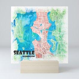 Seattle Washington USA Clean Iconic City Map Mini Art Print