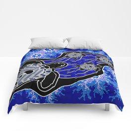 Baby Sea Turtles - Aboriginal Art Comforters
