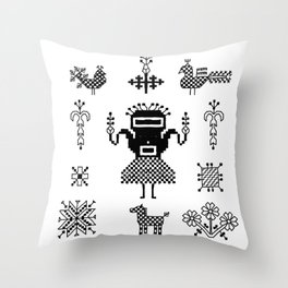 folk embroidery, Collection of flowers, birds, peacocks, horse, man, geometric ornaments, symbols e Throw Pillow