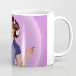 """Planning"" - The Playful Pinup - Polka Dot Dress Pinup Girl by Maxwell H. Johnson Coffee Mug"