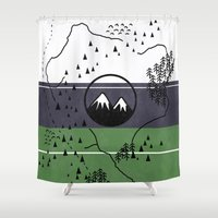 middle earth Shower Curtains featuring Middle Earth by Cécile Pellerin