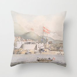 Vintage Pictorial View of Christiansted St Croix (1839) Throw Pillow