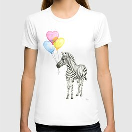 Zebra Watercolor With Heart Shaped Balloons T-shirt