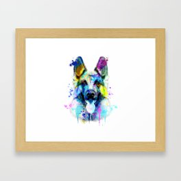 German Shepherd Watercolor, Watercolor Dog print, German Shepherd Print, German Shepherd Art Framed Art Print