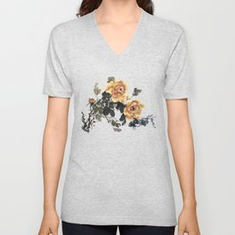 Yellow peonies sumie ink and watercolor painting Unisex V-Neck