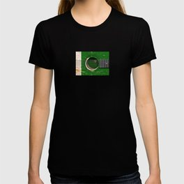 Old Vintage Acoustic Guitar with Pakistani Flag T-shirt
